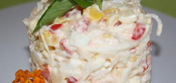 Салаты с вареными яйцами и мясом краба рецепты