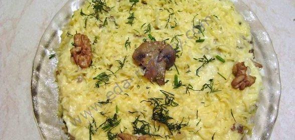 Салат курица грибы слоями рецепт