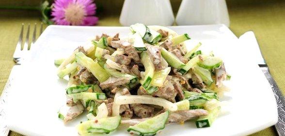 Салат с языком с маринованными огурцами рецепт