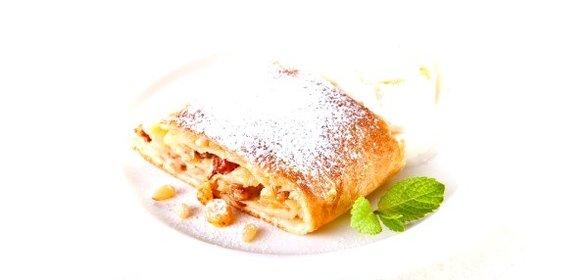 Штрудель венский с яблоками с фото пошагово самый вкусный