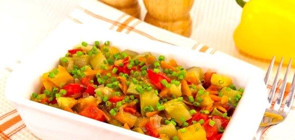 Жареные кабачки с овощами рецепт с фото
