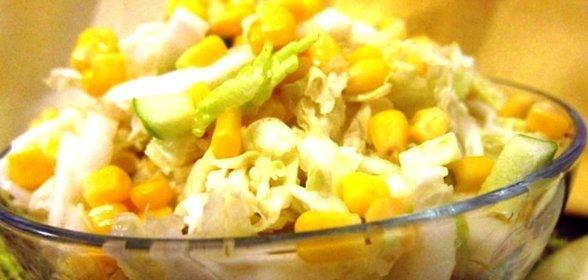 Салат из кукурузы и пекинской капусты и курицы рецепты с