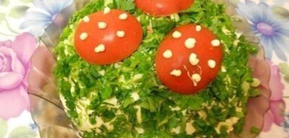 Лесная полянка салат рецепт с шампиньонами