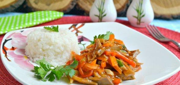 Свиной язык с овощамиы