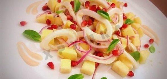 Рецепт кальмары с яблоками
