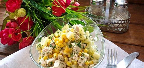 Рецепты салатов с кукурузой и курицей с пошагово